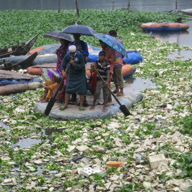 Slum inhabitants travel by illegal boats