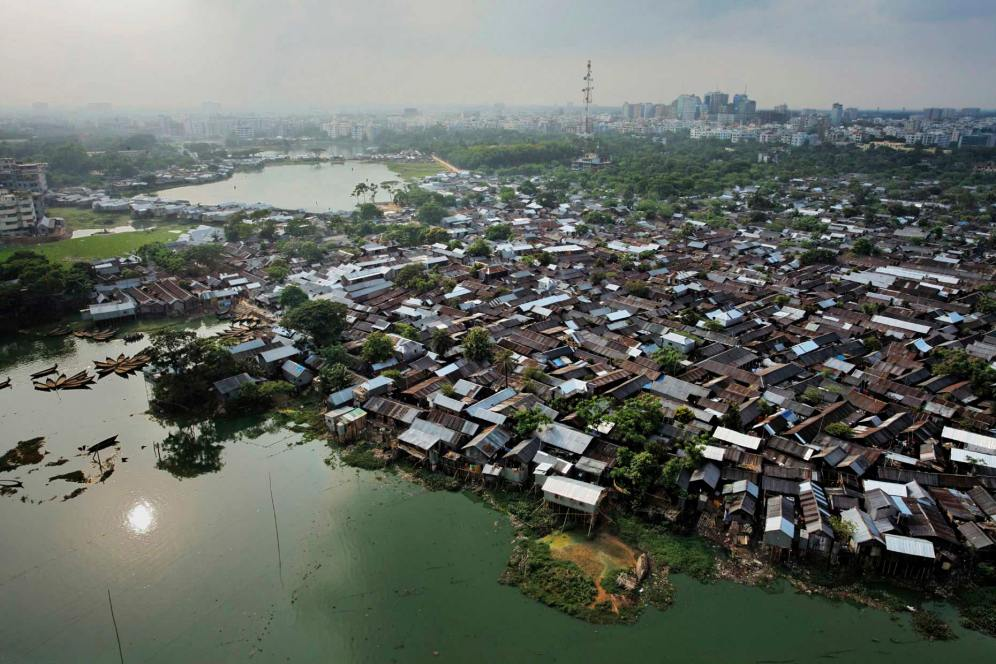 Arial footage of Karail slum