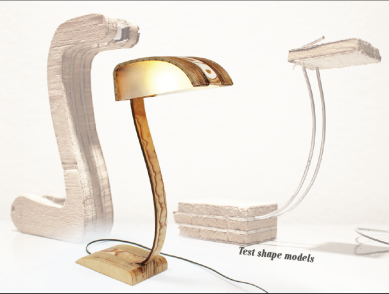 A lamp created by bending layers of wood